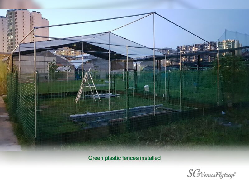 Green Plastic Fence Up